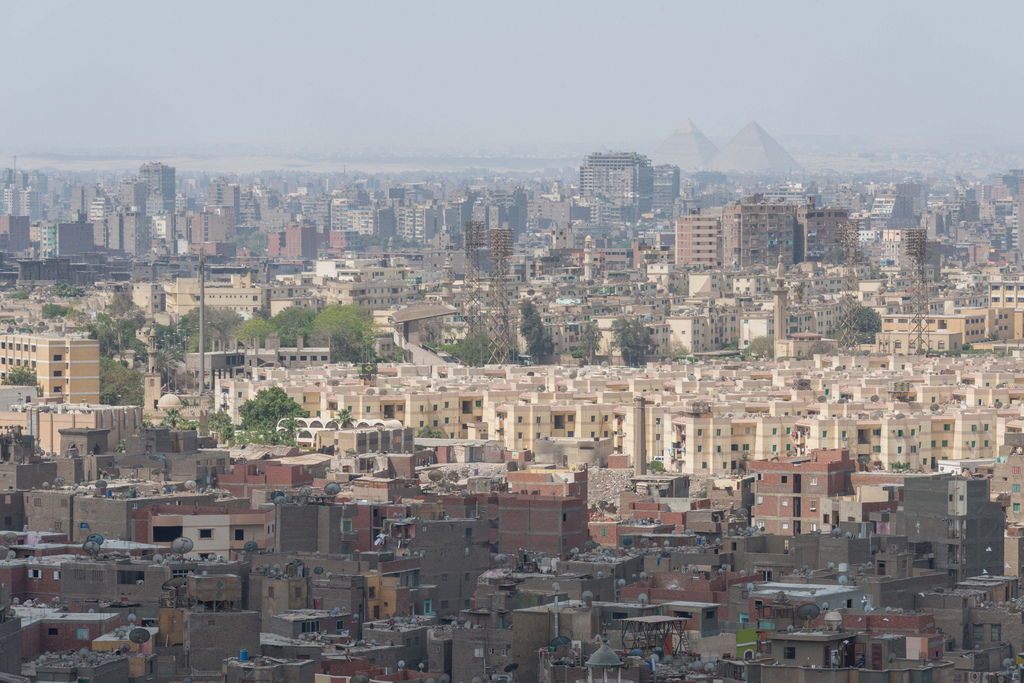 View from the Citadel of Cairo; one can even see the Pyramids of Giza in the distance.