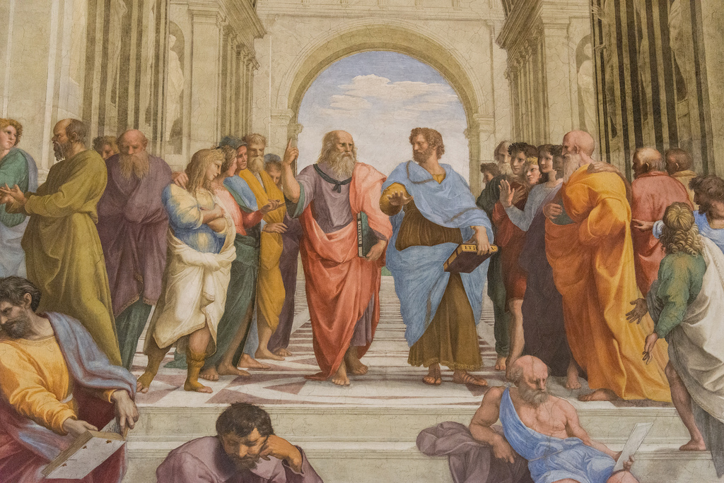 The School of Athens, or Scuola di Atene in Italian, is one of the most famous frescoes by the Italian Renaissance artist Raphael. In the center of the fresco are the two undisputed main subjects: Plato on the left and Aristotle, his student, on the right.