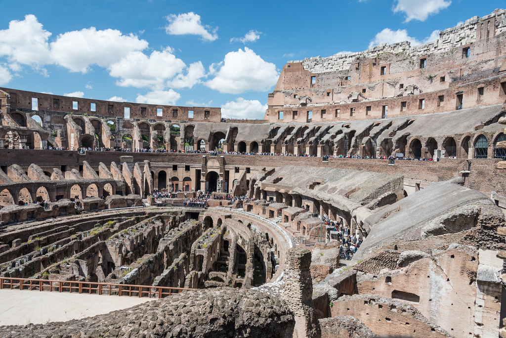Inside of the Colosseum (or what's left of it), the biggest amphitheater in the world.