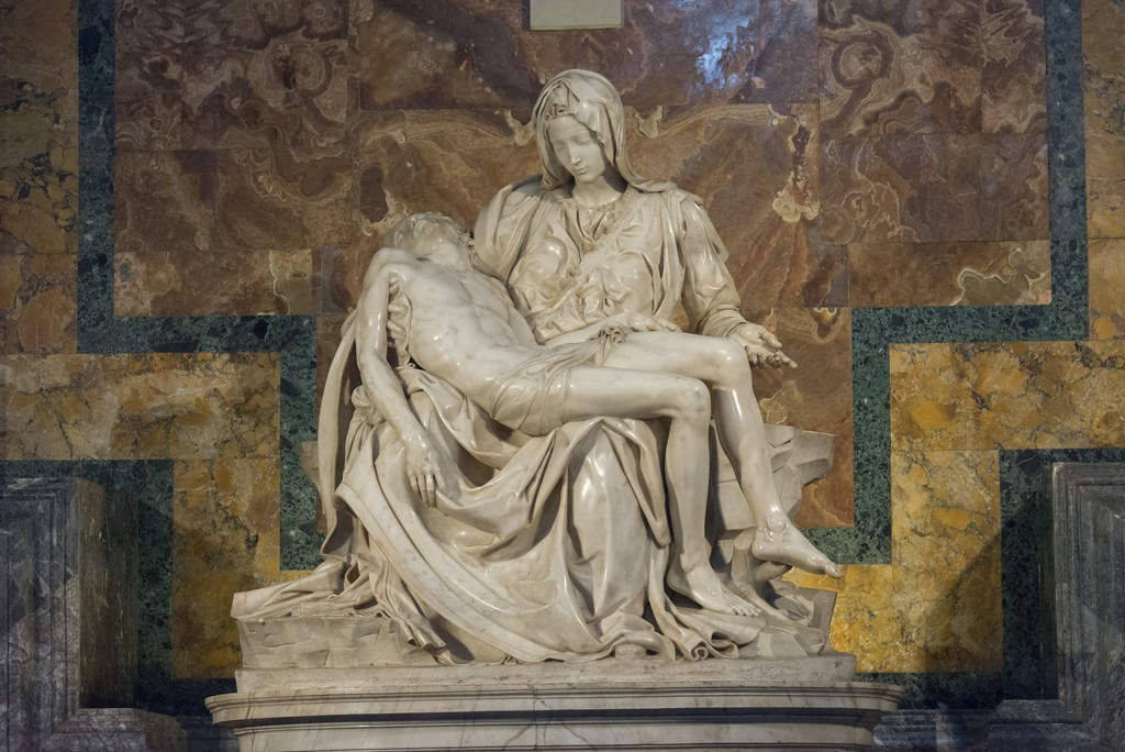The Pietà by Michelangelo (1499); it depicts the body of Jesus on the lap of his mother Mary after the Crucifixion.