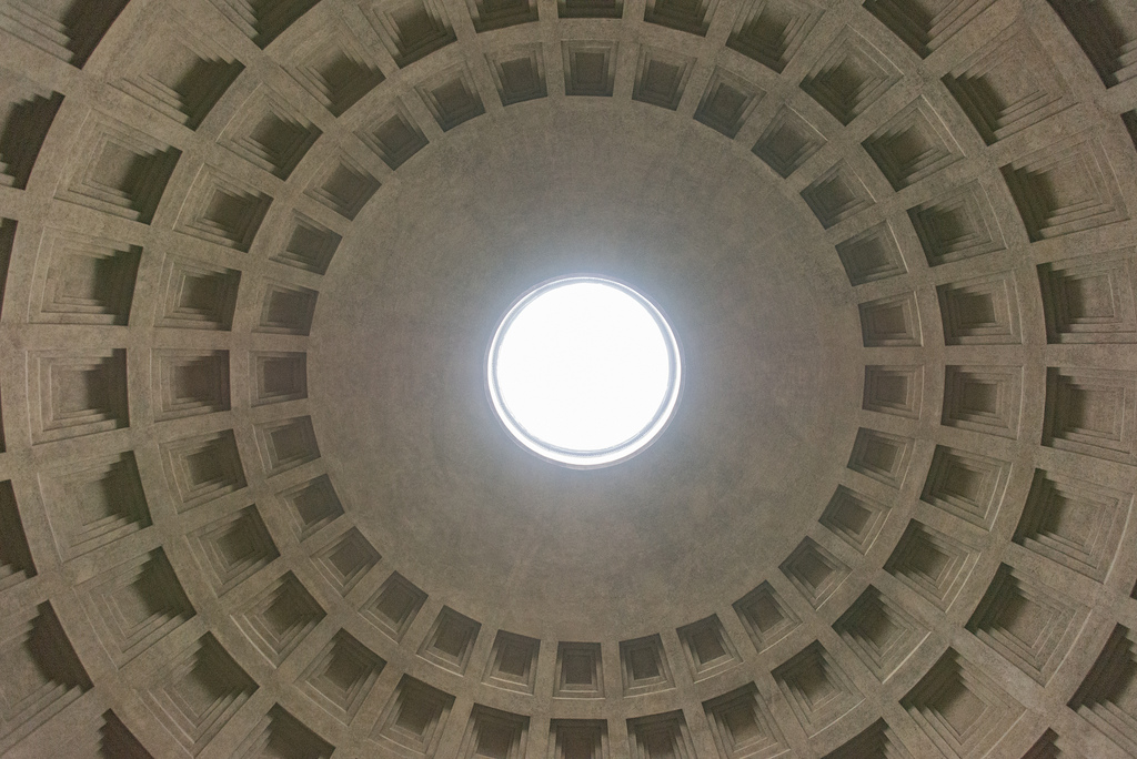 The dome of the Pantheon. The very center, called the oculus, is open to the sky.