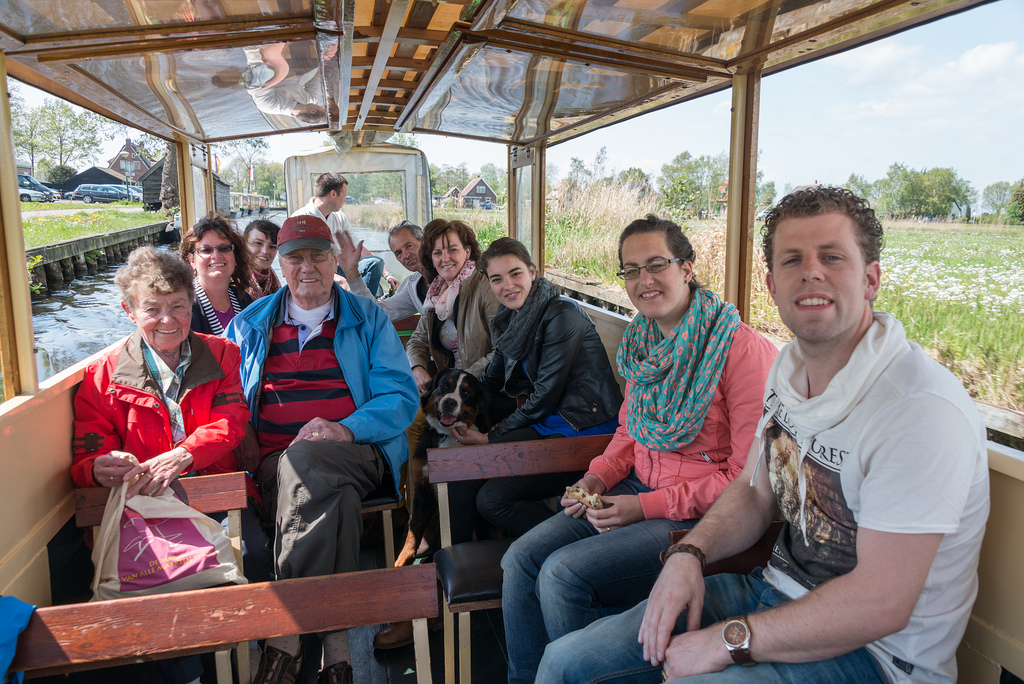 All aboard our canal boat! Left to right: Jopie, Denise, Amanda, Berend, the skipper, Martin, Dineke, Sandra, Bianca, Sander.