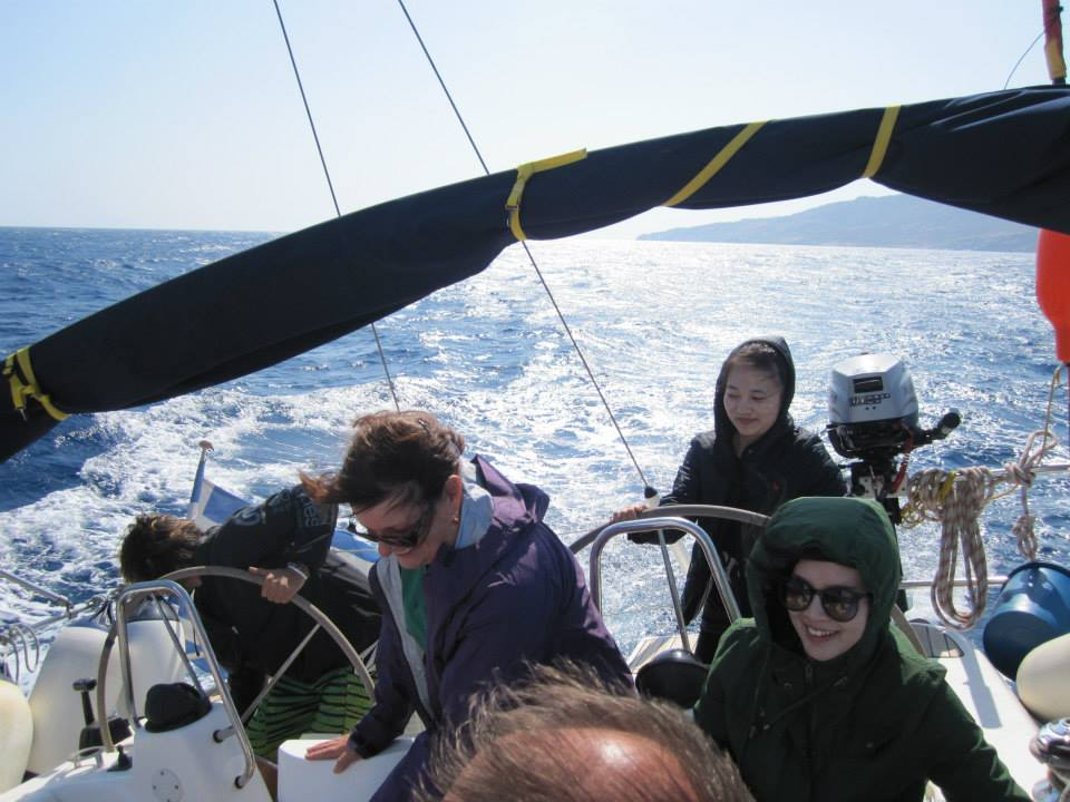Watch out...Xin is at the helm. Everyone hold on cause she's trying to dump Andre overboard (picture courtesy of Row).