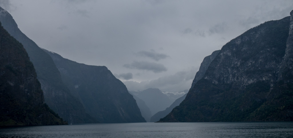 As we left Flåm, the weather was misty and drizzley--typical fjord weather.
