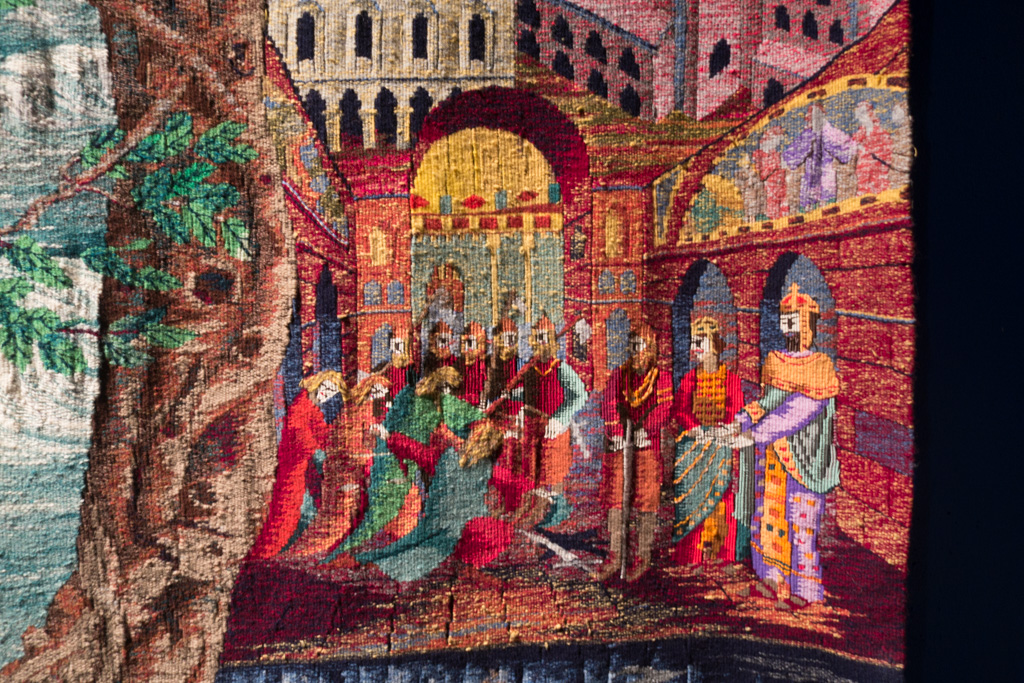 Detail of the tapestry.
