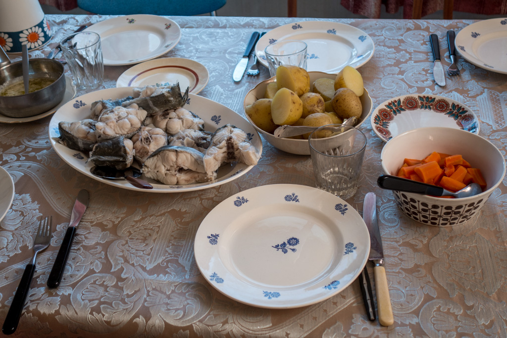 Eirik's father, Konrad, made dinner for us, featuring the halibut he caught the day before.
