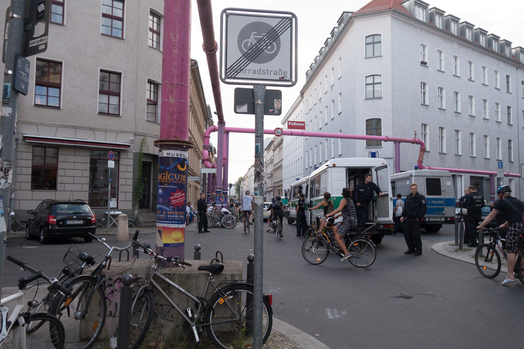 One of the many pink pipes. Note the presence of police - there was a demonstration nearby.