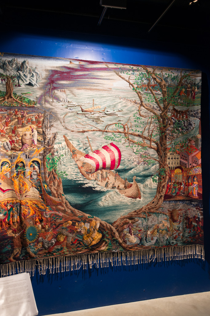 Gorgeously embroidered tapestry at the museum in Harstad.
