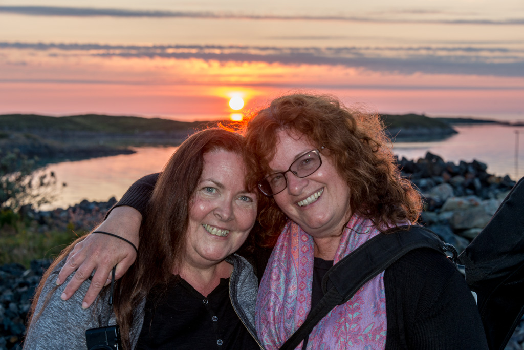 Peggy, Denise and the (almost) midnight sun.