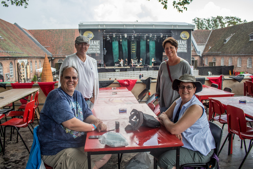 Karel, Eirik, Gry, and Denise waiting for the festival to start.