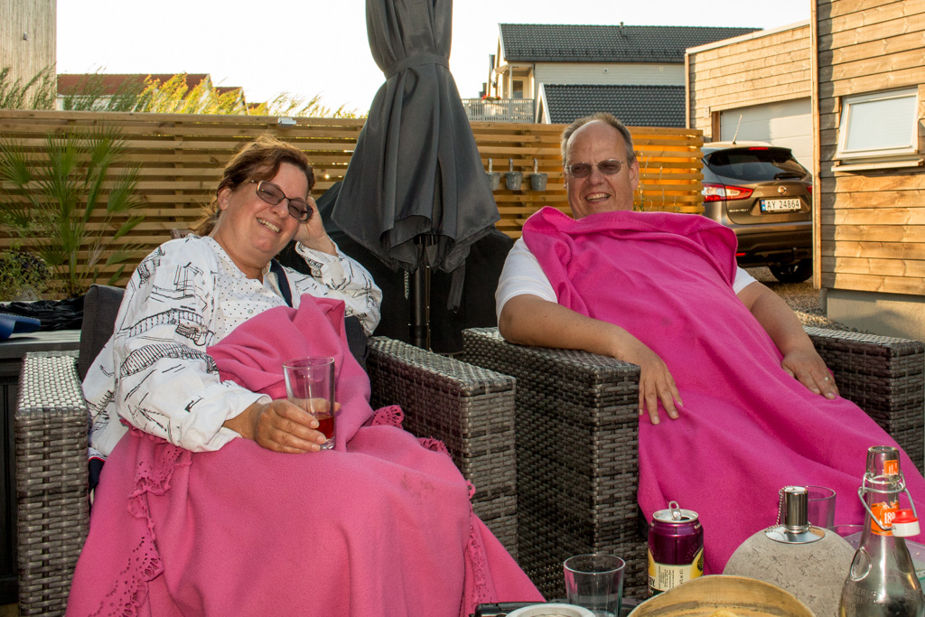 The pink blankets kept us warm.