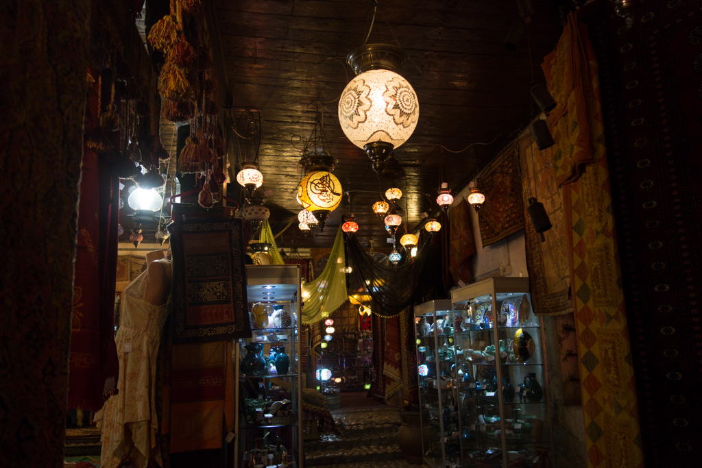Glassware, carpets, and lamps for sale - as they have been for centuries - at the caravanserai.