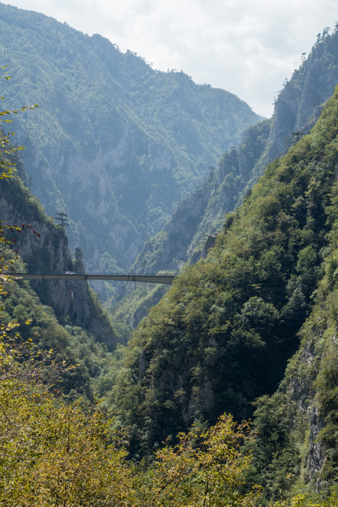 One of the many bridges in the mountainous landscape.