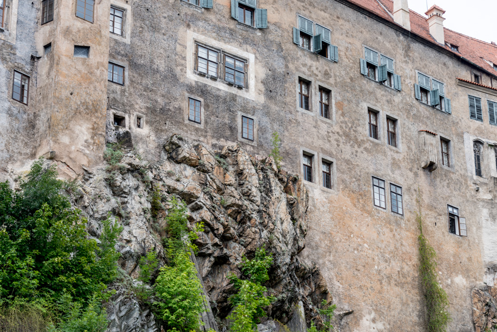 The palace walls are built right into the rock.