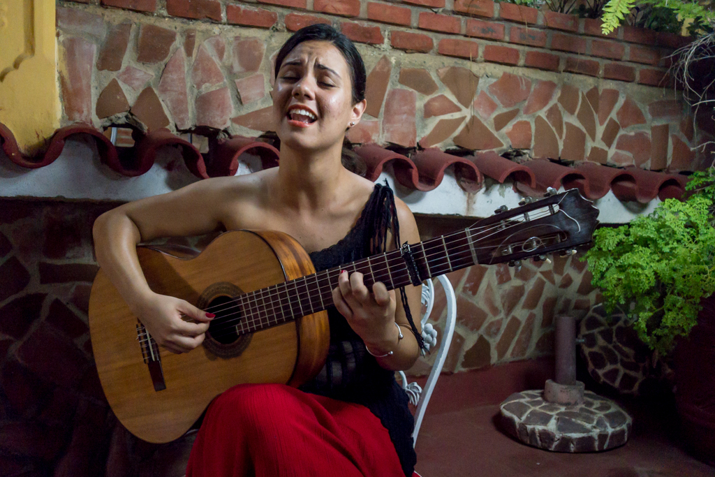 """In Trinidad our guides arranged for a singer/guitarist to entertain us at dinner. """"Jenny"""" was happy to hand her guitar over to Karel and sing harmonies with me. We had so much fun, we did it again the next two evenings."""